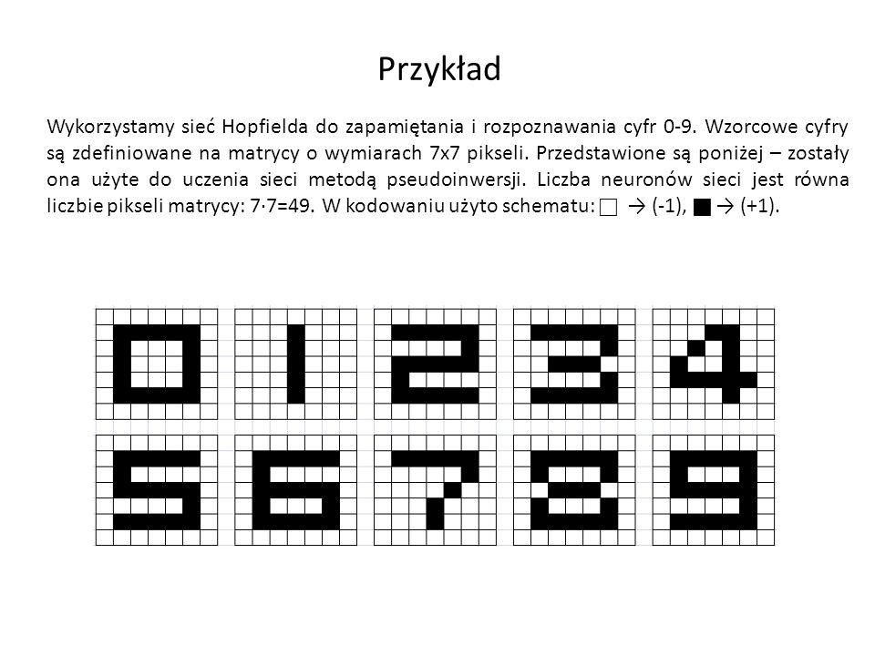 Przykład Wykorzystamy sieć Hopfielda do zapamiętania i rozpoznawania cyfr 0-9. Wzorcowe cyfry są zdefiniowane na matrycy o wymiarach 7x7 pikseli. Prze