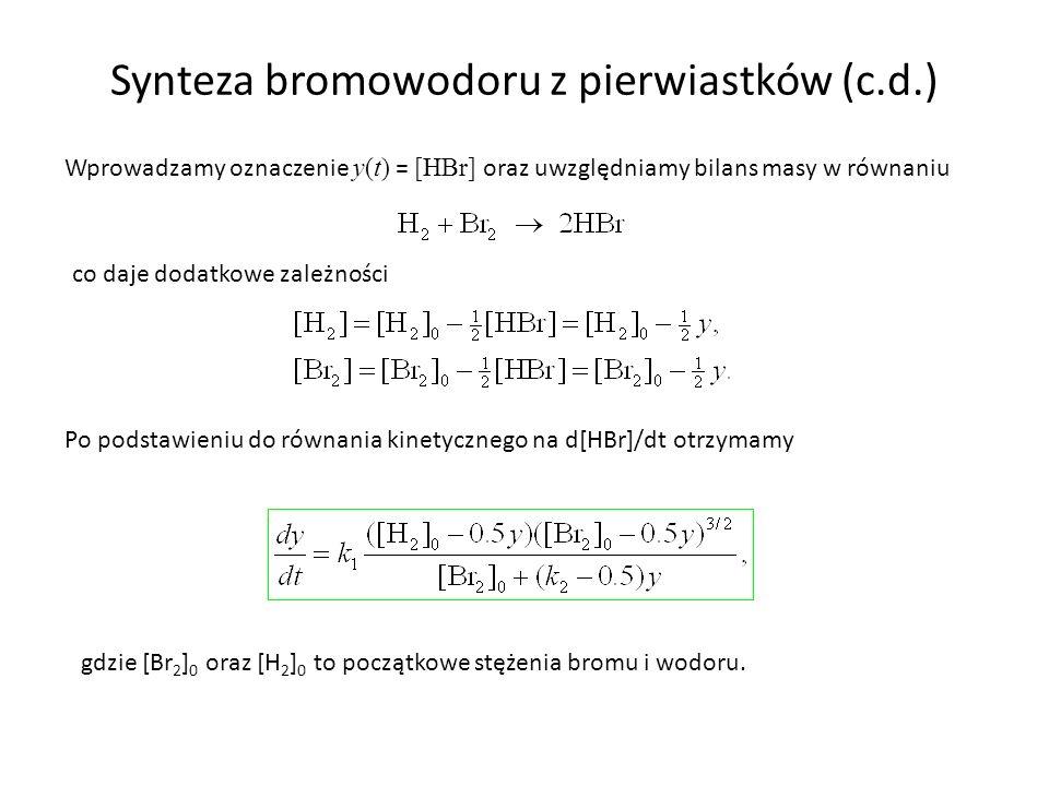 Synteza bromowodoru z pierwiastków (c.d.) Wprowadzamy oznaczenie y(t) = [HBr] oraz uwzględniamy bilans masy w równaniu co daje dodatkowe zależności Po