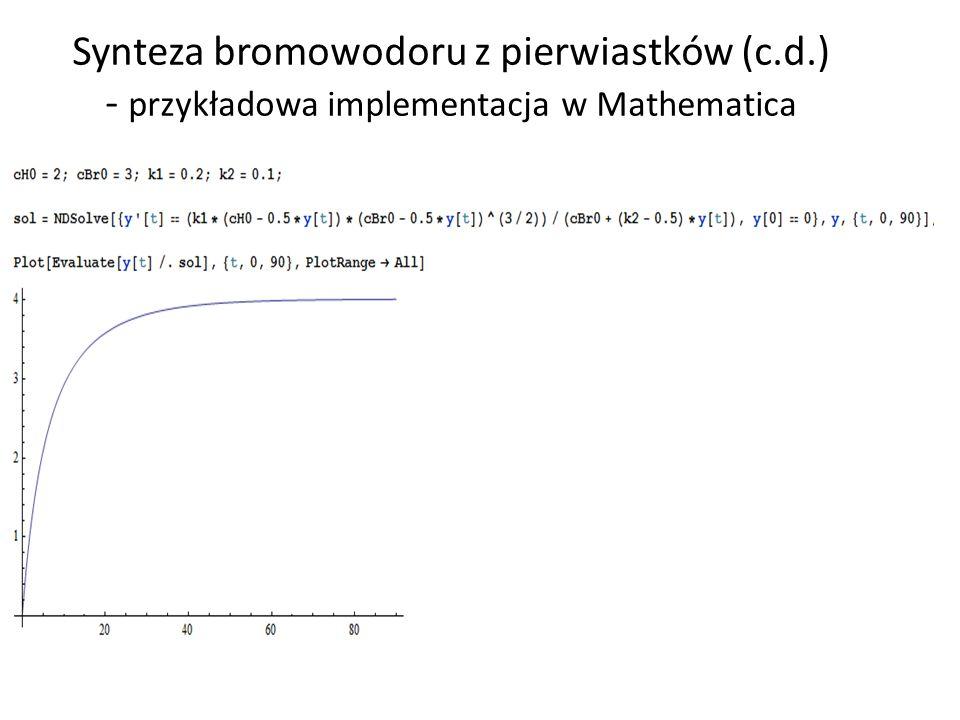 Synteza bromowodoru z pierwiastków (c.d.) - przykładowa implementacja w Mathematica