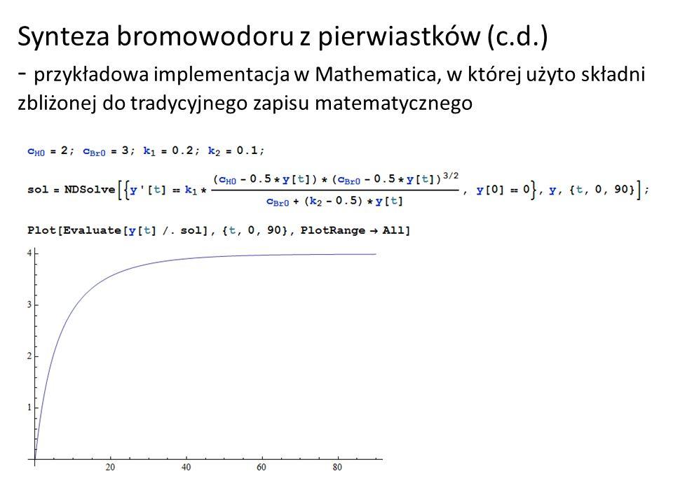 Synteza bromowodoru z pierwiastków (c.d.) - przykładowa implementacja w Mathematica, w której użyto składni zbliżonej do tradycyjnego zapisu matematyc