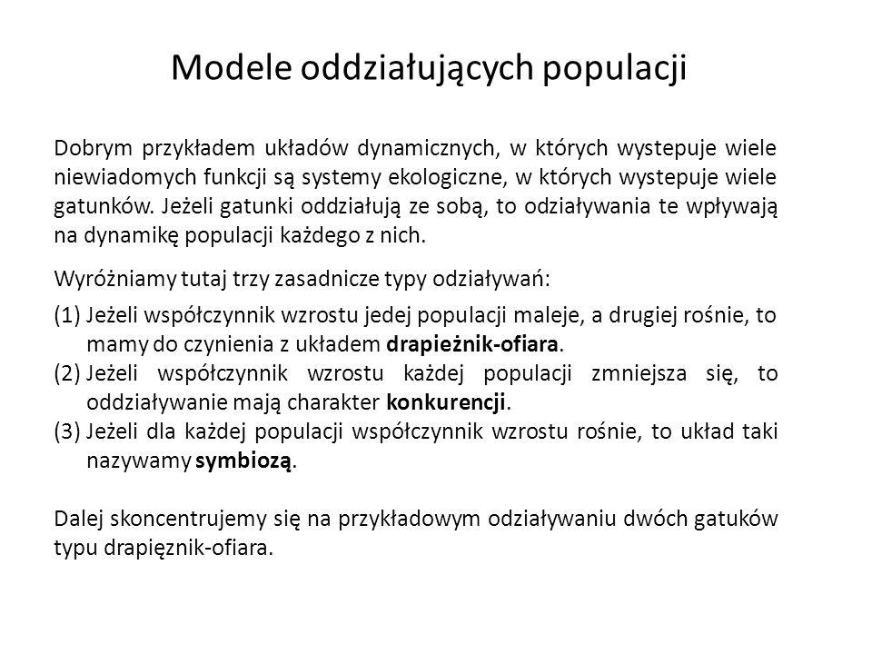 Modele oddziałujących populacji Dobrym przykładem układów dynamicznych, w których wystepuje wiele niewiadomych funkcji są systemy ekologiczne, w który