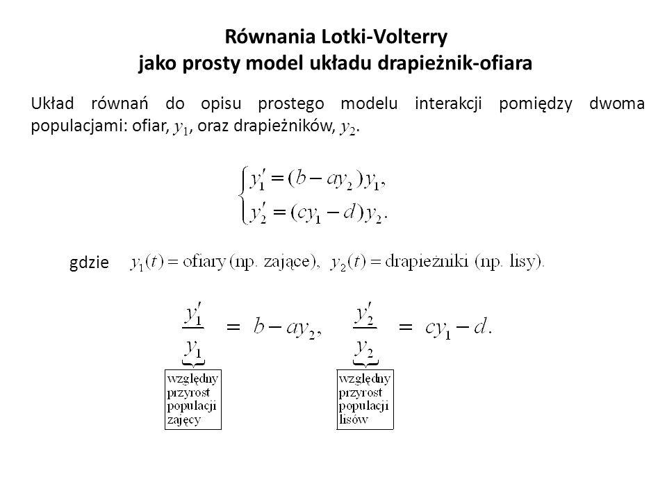 Równania Lotki-Volterry jako prosty model układu drapieżnik-ofiara gdzie Układ równań do opisu prostego modelu interakcji pomiędzy dwoma populacjami: