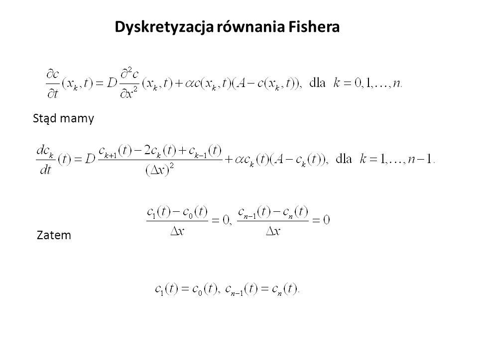 Dyskretyzacja równania Fishera Stąd mamy Zatem
