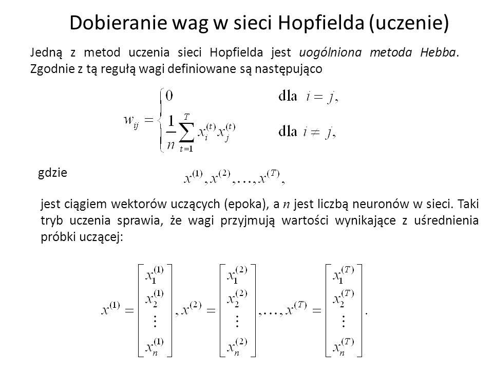 Dobieranie wag w sieci Hopfielda (uczenie) Jedną z metod uczenia sieci Hopfielda jest uogólniona metoda Hebba. Zgodnie z tą regułą wagi definiowane są