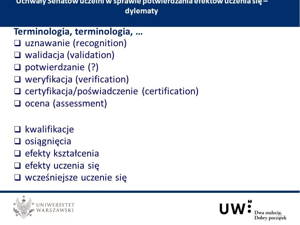 Terminologia, terminologia, …  uznawanie (recognition)  walidacja (validation)  potwierdzanie ( )  weryfikacja (verification)  certyfikacja/poświadczenie (certification)  ocena (assessment)  kwalifikacje  osiągnięcia  efekty kształcenia  efekty uczenia się  wcześniejsze uczenie się Uchwały Senatów uczelni w sprawie potwierdzania efektów uczenia się – dylematy 10
