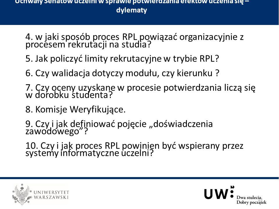4. w jaki sposób proces RPL powiązać organizacyjnie z procesem rekrutacji na studia.