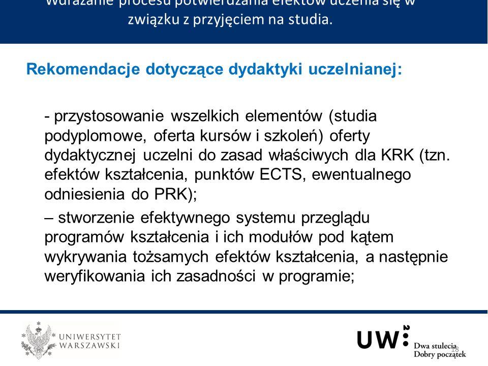 Rekomendacje dotyczące dydaktyki uczelnianej: - przystosowanie wszelkich elementów (studia podyplomowe, oferta kursów i szkoleń) oferty dydaktycznej uczelni do zasad właściwych dla KRK (tzn.