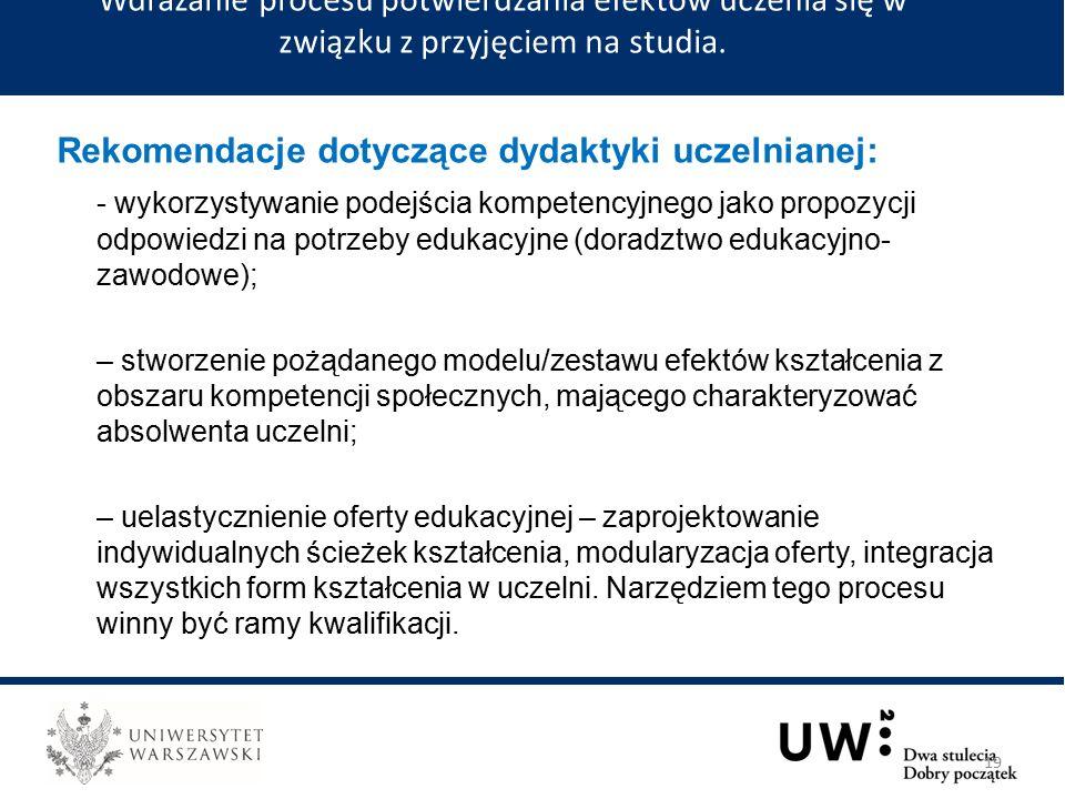 Rekomendacje dotyczące dydaktyki uczelnianej: - wykorzystywanie podejścia kompetencyjnego jako propozycji odpowiedzi na potrzeby edukacyjne (doradztwo edukacyjno- zawodowe); – stworzenie pożądanego modelu/zestawu efektów kształcenia z obszaru kompetencji społecznych, mającego charakteryzować absolwenta uczelni; – uelastycznienie oferty edukacyjnej – zaprojektowanie indywidualnych ścieżek kształcenia, modularyzacja oferty, integracja wszystkich form kształcenia w uczelni.