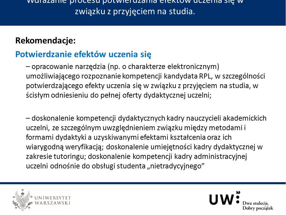 Rekomendacje: Potwierdzanie efektów uczenia się – opracowanie narzędzia (np.