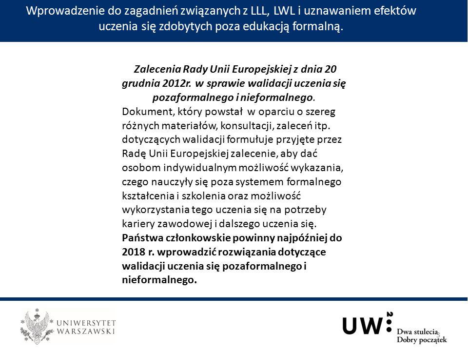 Wprowadzenie do zagadnień związanych z LLL, LWL i uznawaniem efektów uczenia się zdobytych poza edukacją formalną.