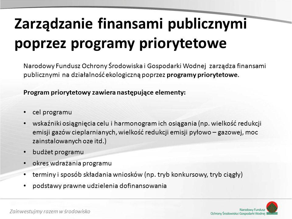 Zainwestujmy razem w środowisko Zarządzanie finansami publicznymi poprzez programy priorytetowe Narodowy Fundusz Ochrony Środowiska i Gospodarki Wodnej zarządza finansami publicznymi na działalność ekologiczną poprzez programy priorytetowe.