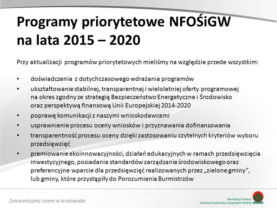"""Zainwestujmy razem w środowisko Programy priorytetowe NFOŚiGW na lata 2015 – 2020 Przy aktualizacji programów priorytetowych mieliśmy na względzie przede wszystkim: doświadczenia z dotychczasowego wdrażania programów ukształtowanie stabilnej, transparentnej i wieloletniej oferty programowej na okres zgodny ze strategią Bezpieczeństwo Energetyczne i Środowisko oraz perspektywą finansową Unii Europejskiej 2014-2020 poprawę komunikacji z naszymi wnioskodawcami usprawnienie procesu oceny wniosków i przyznawania dofinansowania transparentność procesu oceny dzięki zastosowaniu czytelnych kryteriów wyboru przedsięwzięć premiowanie ekoinnowacyjności, działań edukacyjnych w ramach przedsięwzięcia inwestycyjnego, posiadania standardów zarządzania środowiskowego oraz preferencyjne wparcie dla przedsięwzięć realizowanych przez """"zielone gminy , lub gminy, które przystąpiły do Porozumienia Burmistrzów"""