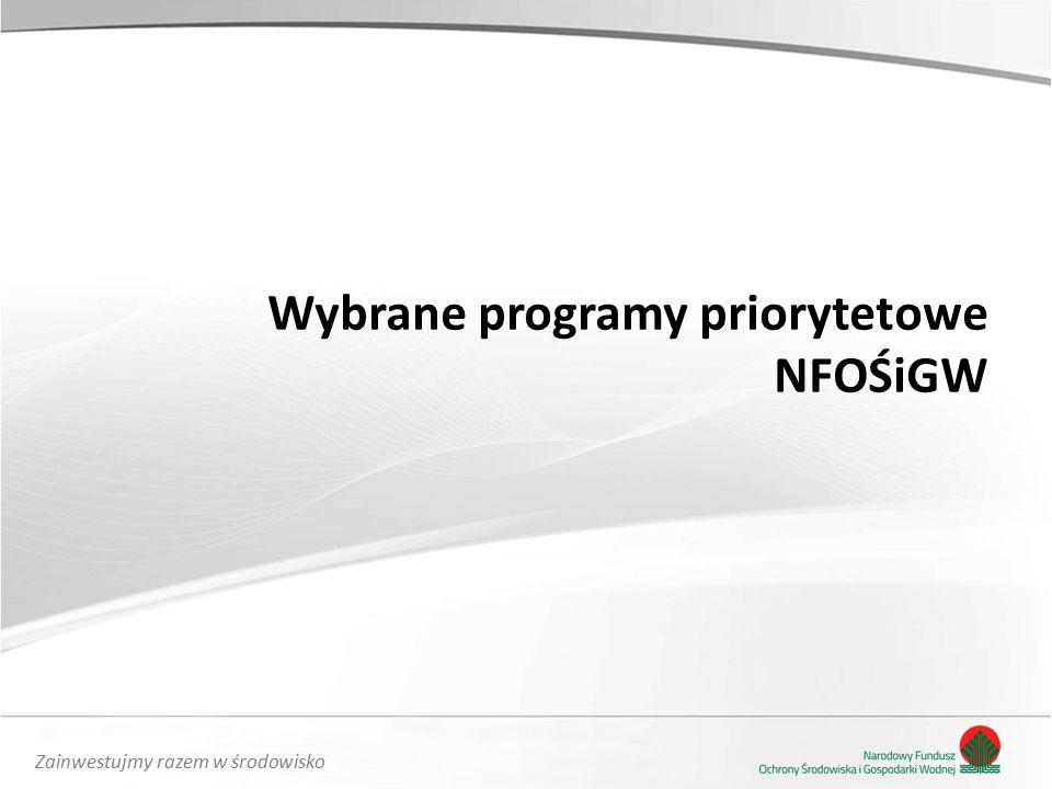 Zainwestujmy razem w środowisko Wybrane programy priorytetowe NFOŚiGW