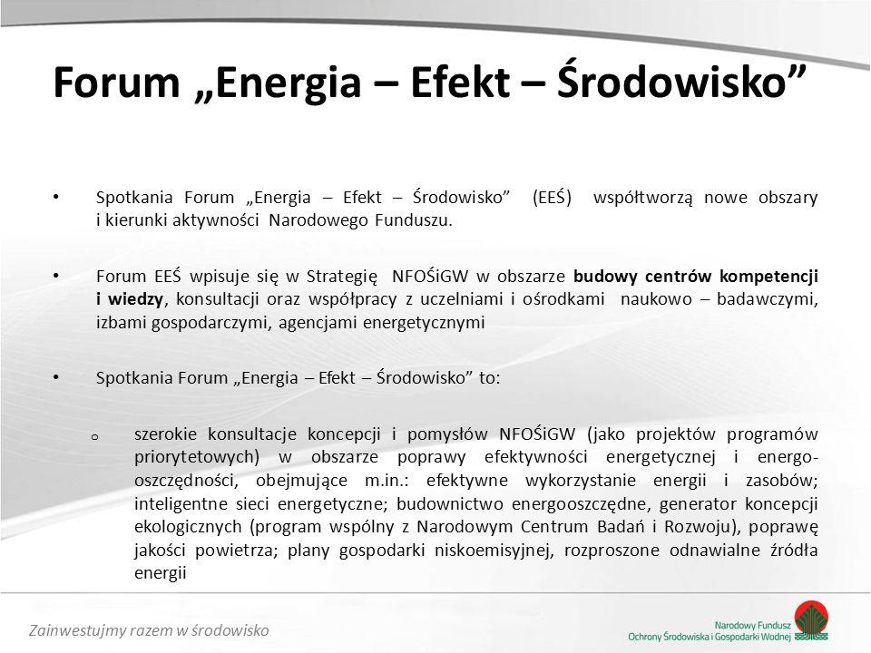 """Zainwestujmy razem w środowisko Forum """"Energia – Efekt – Środowisko Spotkania Forum """"Energia – Efekt – Środowisko (EEŚ) współtworzą nowe obszary i kierunki aktywności Narodowego Funduszu."""