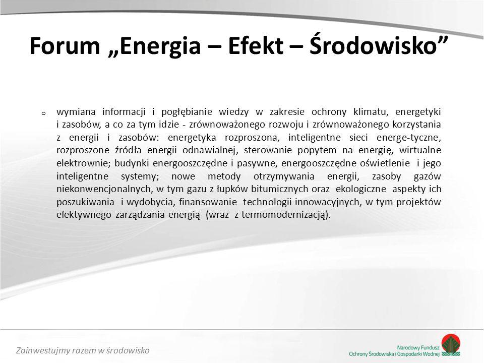 """Zainwestujmy razem w środowisko Forum """"Energia – Efekt – Środowisko o wymiana informacji i pogłębianie wiedzy w zakresie ochrony klimatu, energetyki i zasobów, a co za tym idzie - zrównoważonego rozwoju i zrównoważonego korzystania z energii i zasobów: energetyka rozproszona, inteligentne sieci energe-tyczne, rozproszone źródła energii odnawialnej, sterowanie popytem na energię, wirtualne elektrownie; budynki energooszczędne i pasywne, energooszczędne oświetlenie i jego inteligentne systemy; nowe metody otrzymywania energii, zasoby gazów niekonwencjonalnych, w tym gazu z łupków bitumicznych oraz ekologiczne aspekty ich poszukiwania i wydobycia, finansowanie technologii innowacyjnych, w tym projektów efektywnego zarządzania energią (wraz z termomodernizacją)."""