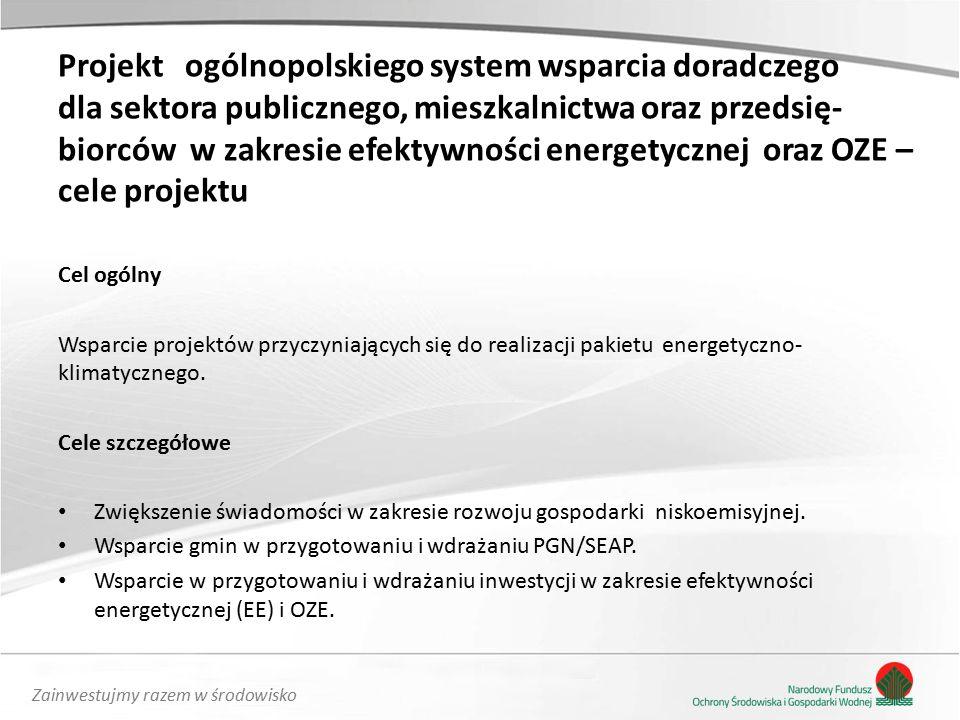 Zainwestujmy razem w środowisko Projekt ogólnopolskiego system wsparcia doradczego dla sektora publicznego, mieszkalnictwa oraz przedsię- biorców w zakresie efektywności energetycznej oraz OZE – cele projektu Cel ogólny Wsparcie projektów przyczyniających się do realizacji pakietu energetyczno- klimatycznego.
