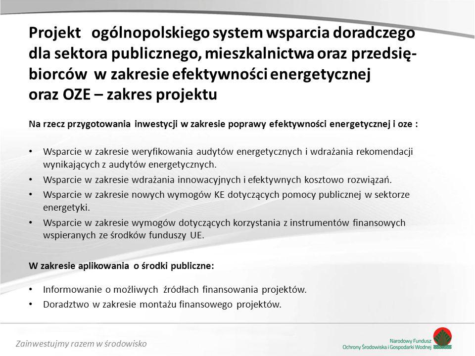 Zainwestujmy razem w środowisko Na rzecz przygotowania inwestycji w zakresie poprawy efektywności energetycznej i oze : Wsparcie w zakresie weryfikowania audytów energetycznych i wdrażania rekomendacji wynikających z audytów energetycznych.