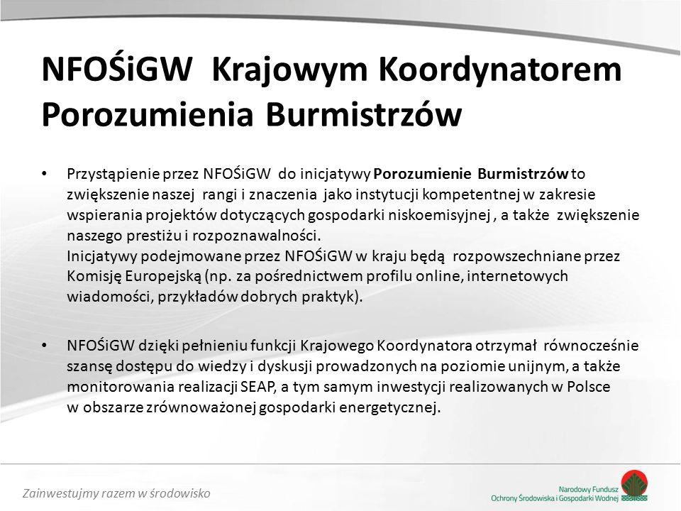 Zainwestujmy razem w środowisko Przystąpienie przez NFOŚiGW do inicjatywy Porozumienie Burmistrzów to zwiększenie naszej rangi i znaczenia jako instytucji kompetentnej w zakresie wspierania projektów dotyczących gospodarki niskoemisyjnej, a także zwiększenie naszego prestiżu i rozpoznawalności.