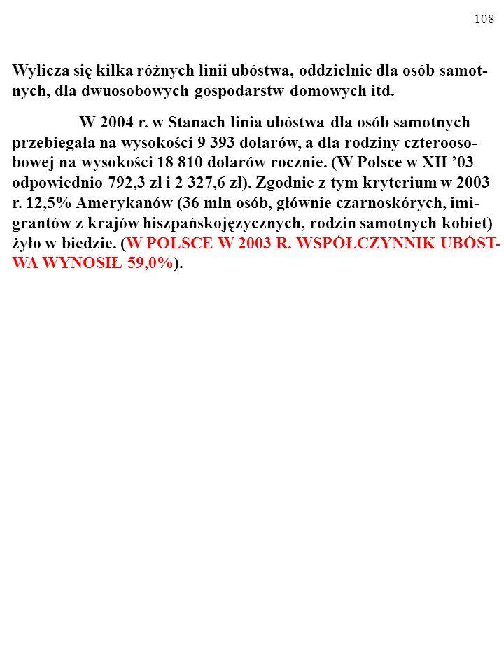 107 WSPÓŁCZYNNIK UBÓSTWA WSPÓŁCZYNNIK UBÓSTWA (ang.