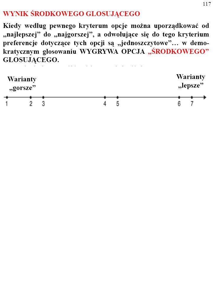 """116 WYNIK ŚRODKOWEGO GLOSUJĄCEGO Kiedy według pewnego kryterum opcje można uporządkować od """"najlepszej do """"najgorszej , a odwołujące się do tego kryterium preferencje dotyczące tych opcji są """"JEDNOSZCZYTOWE … Warianty """"gorsze Warianty """"lepsze"""
