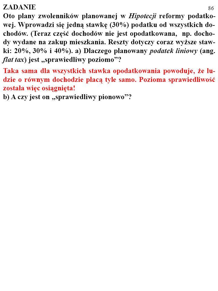 85 ZADANIE Oto plany zwolenników planowanej w Hipotecji reformy podatko- wej.