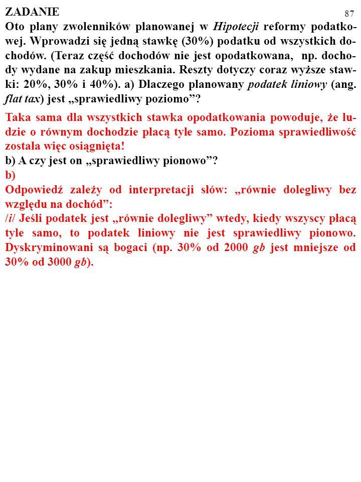 86 ZADANIE Oto plany zwolenników planowanej w Hipotecji reformy podatko- wej.