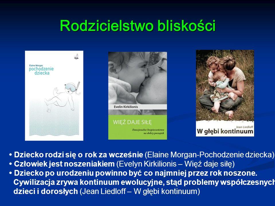 Rodzicielstwo bliskości Dziecko rodzi się o rok za wcześnie (Elaine Morgan-Pochodzenie dziecka) Człowiek jest noszeniakiem (Evelyn Kirkilionis – Więź