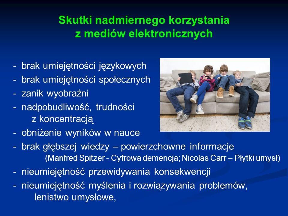Skutki nadmiernego korzystania z mediów elektronicznych - brak umiejętności językowych - brak umiejętności społecznych - zanik wyobraźni - nadpobudliw