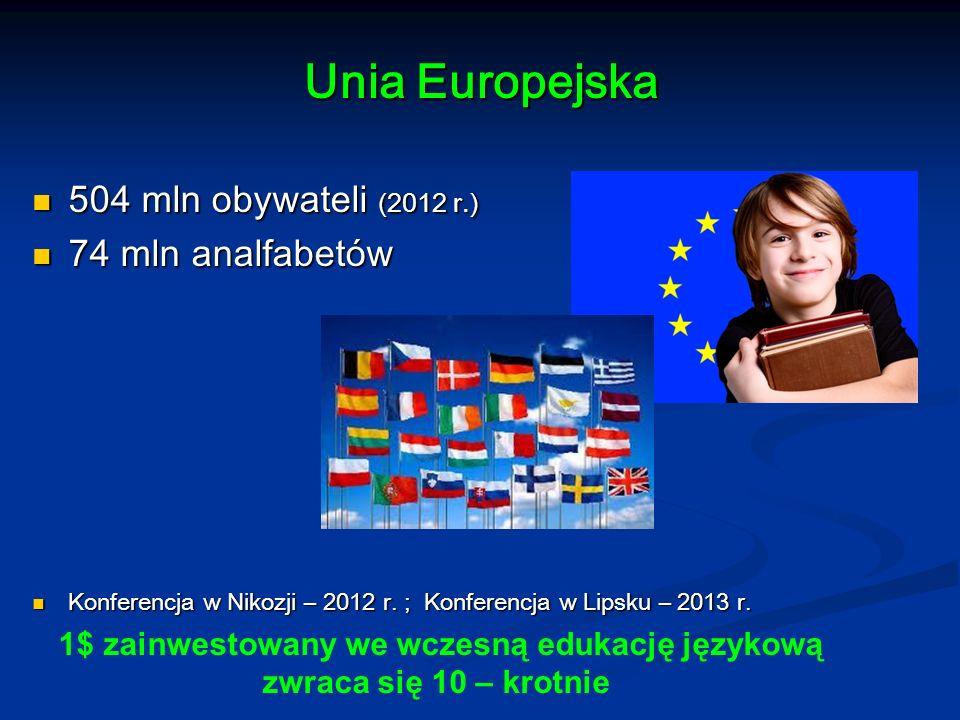 Unia Europejska 504 mln obywateli (2012 r.) 504 mln obywateli (2012 r.) 74 mln analfabetów 74 mln analfabetów Konferencja w Nikozji – 2012 r. ; Konfer