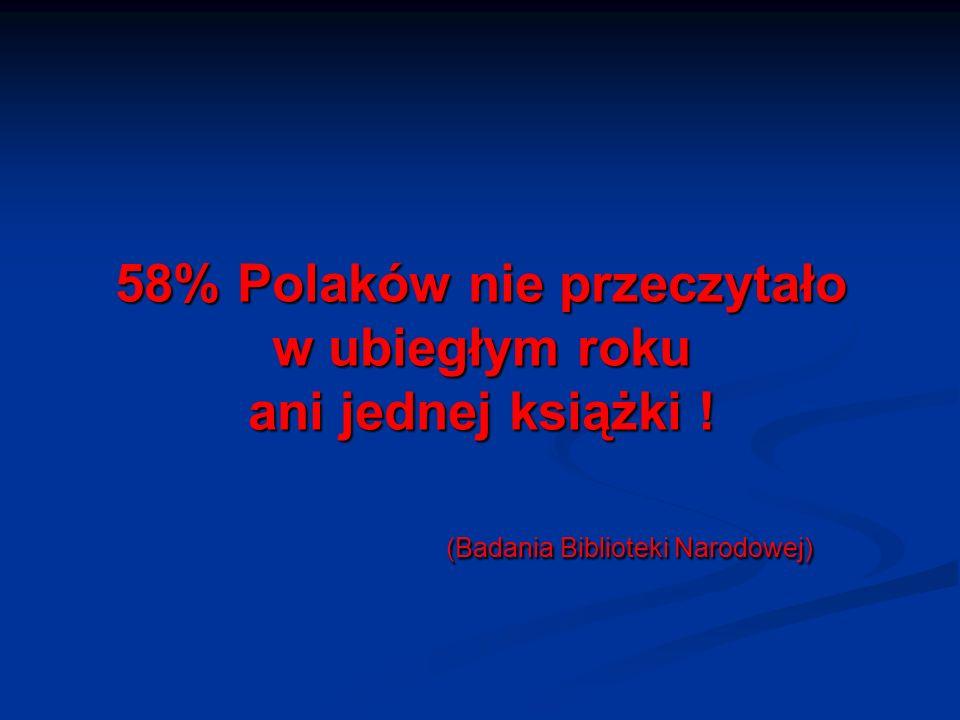 58% Polaków nie przeczytało w ubiegłym roku ani jednej książki ! (Badania Biblioteki Narodowej) 58% Polaków nie przeczytało w ubiegłym roku ani jednej