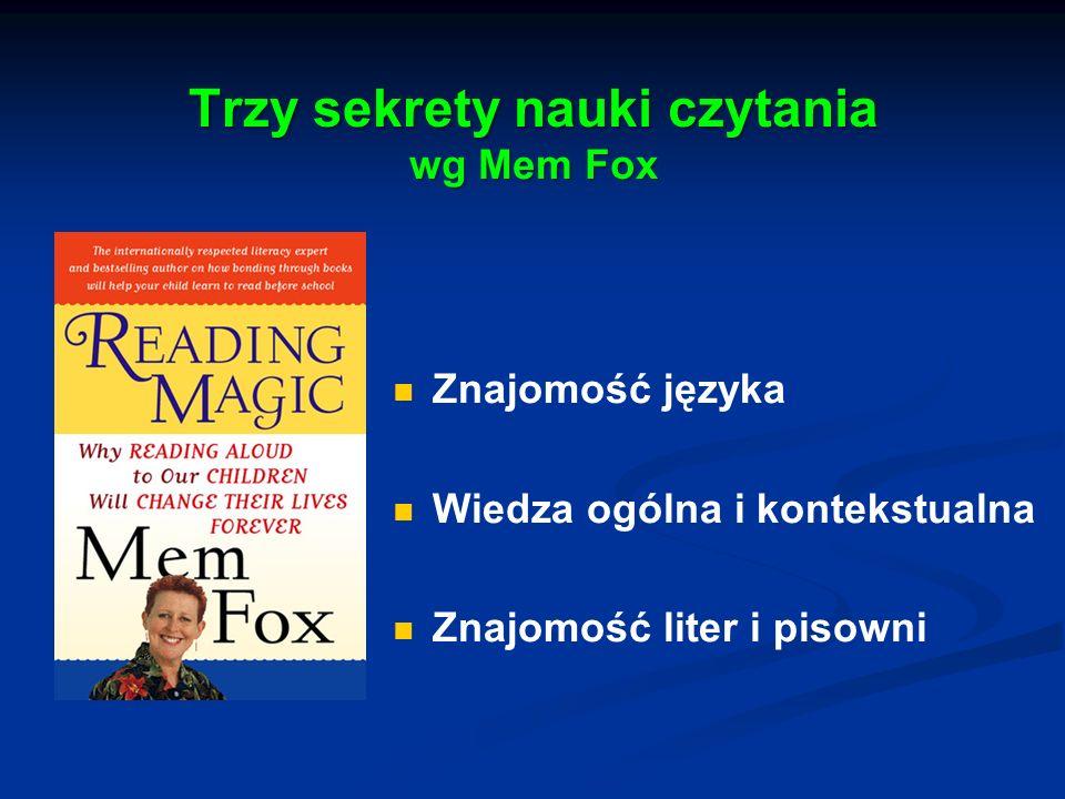 Trzy sekrety nauki czytania wg Mem Fox Znajomość języka Wiedza ogólna i kontekstualna Znajomość liter i pisowni