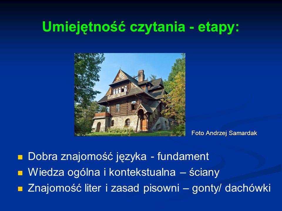 Umiejętność czytania - etapy: Foto Andrzej Samardak Foto Andrzej Samardak Dobra znajomość języka - fundament Wiedza ogólna i kontekstualna – ściany Zn