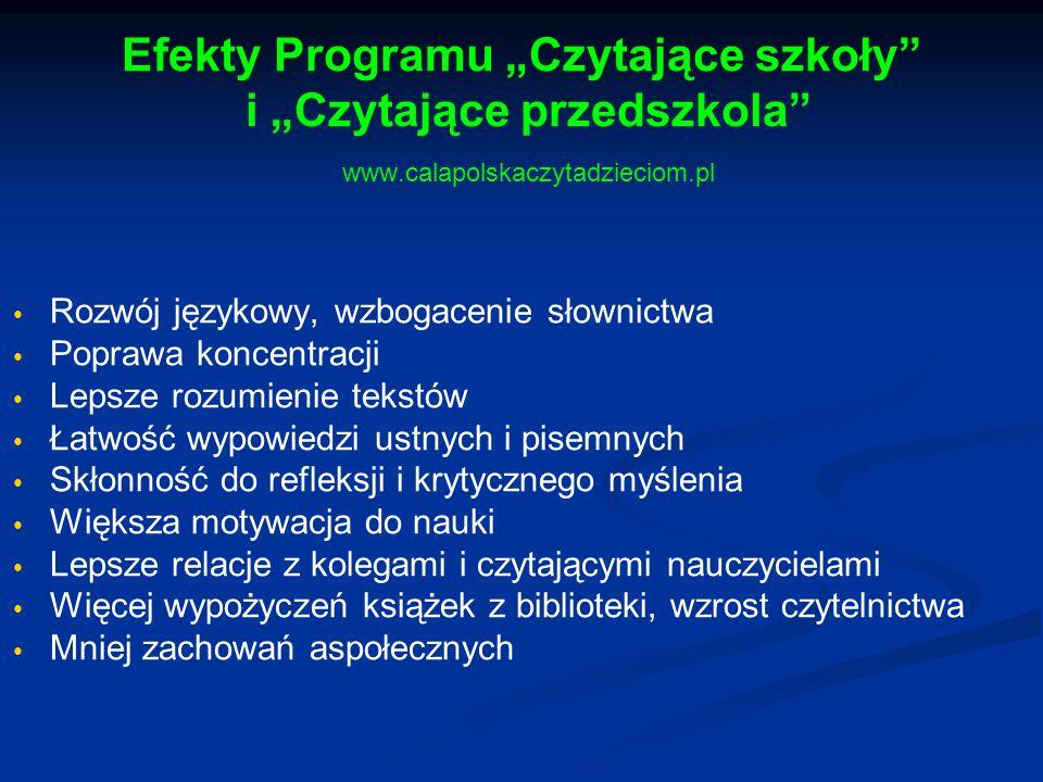 """Efekty Programu """"Czytające szkoły"""" i """"Czytające przedszkola"""" www.calapolskaczytadzieciom.pl Rozwój językowy, wzbogacenie słownictwa Poprawa koncentrac"""