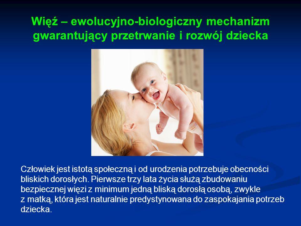 Więź – ewolucyjno-biologiczny mechanizm gwarantujący przetrwanie i rozwój dziecka Człowiek jest istotą społeczną i od urodzenia potrzebuje obecności b