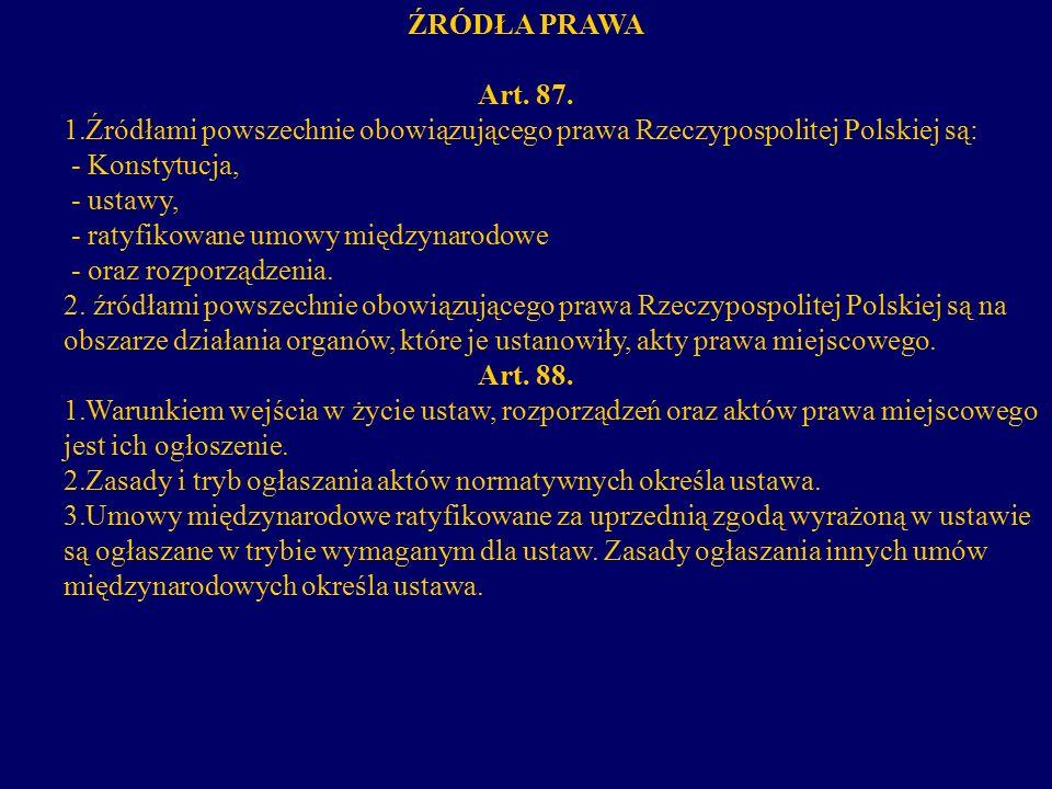 ŹRÓDŁA PRAWA Art. 87. 1. 1.Źródłami powszechnie obowiązującego prawa Rzeczypospolitej Polskiej są: - Konstytucja, - ustawy, - ratyfikowane umowy międz