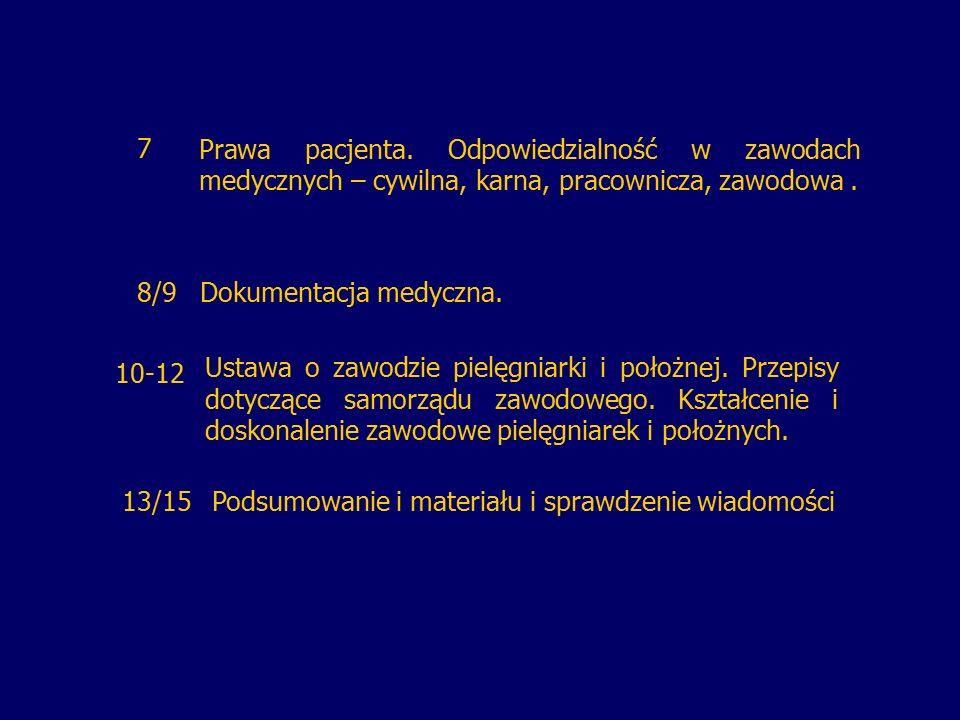 7Prawa pacjenta. Odpowiedzialność w zawodach medycznych – cywilna, karna, pracownicza, zawodowa. 8/9Dokumentacja medyczna. Ustawa o zawodzie pielęgnia