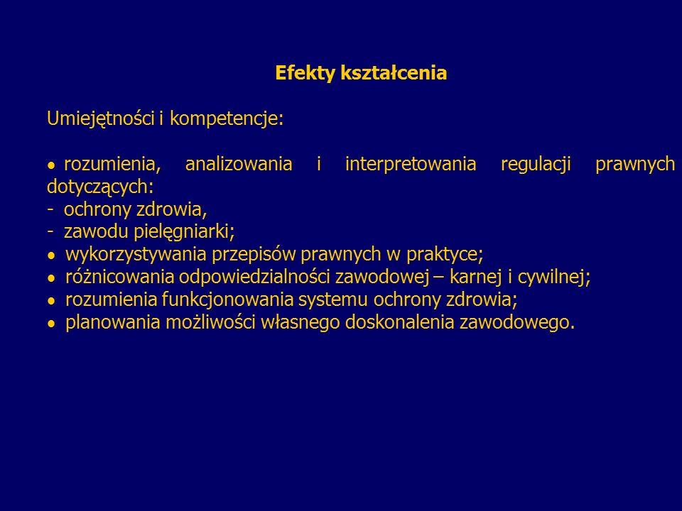 Efekty kształcenia Umiejętności i kompetencje:   rozumienia, analizowania i interpretowania regulacji prawnych dotyczących: - -ochrony zdrowia, - -z