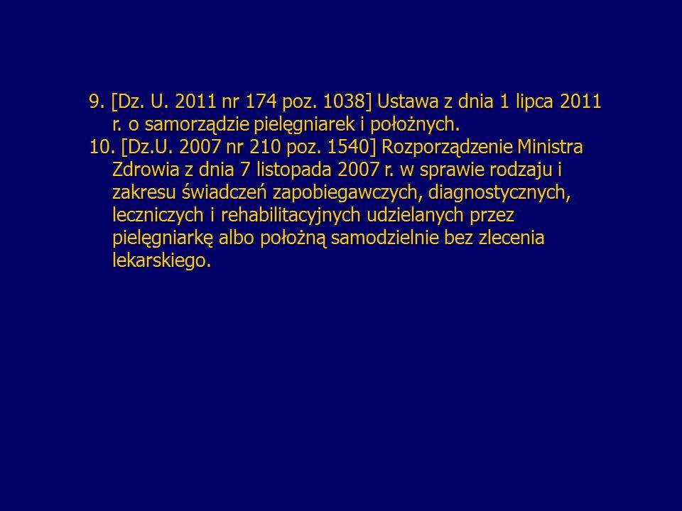 9. [Dz. U. 2011 nr 174 poz. 1038] Ustawa z dnia 1 lipca 2011 r. o samorządzie pielęgniarek i położnych. r. o samorządzie pielęgniarek i położnych. 10.