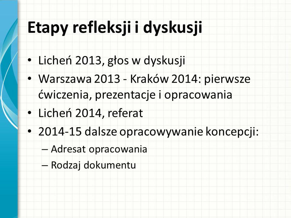 Etapy refleksji i dyskusji Licheń 2013, głos w dyskusji Warszawa 2013 - Kraków 2014: pierwsze ćwiczenia, prezentacje i opracowania Licheń 2014, referat 2014-15 dalsze opracowywanie koncepcji: – Adresat opracowania – Rodzaj dokumentu