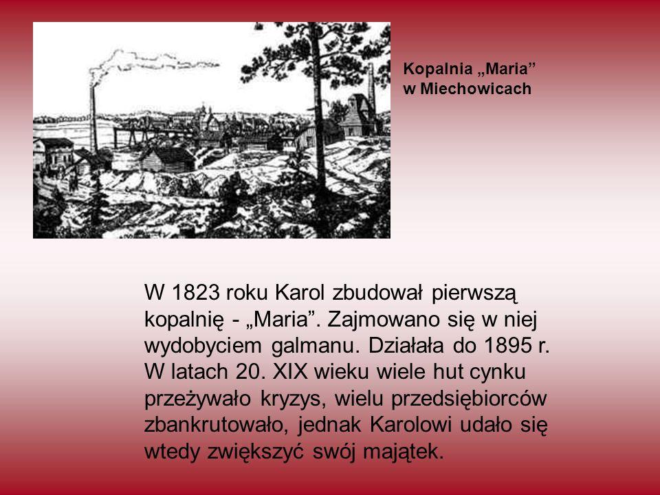 """W 1823 roku Karol zbudował pierwszą kopalnię - """"Maria"""". Zajmowano się w niej wydobyciem galmanu. Działała do 1895 r. W latach 20. XIX wieku wiele hut"""