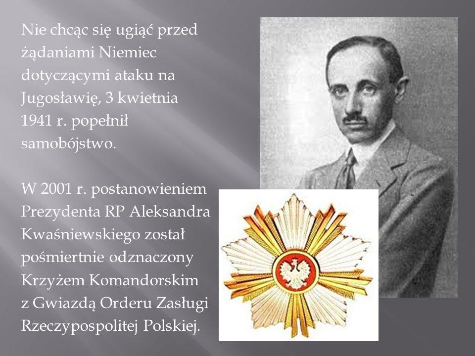 Nie chcąc się ugiąć przed żądaniami Niemiec dotyczącymi ataku na Jugosławię, 3 kwietnia 1941 r.