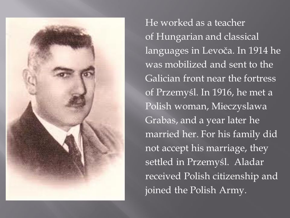 He worked as a teacher of Hungarian and classical languages ​​ in Levoča.