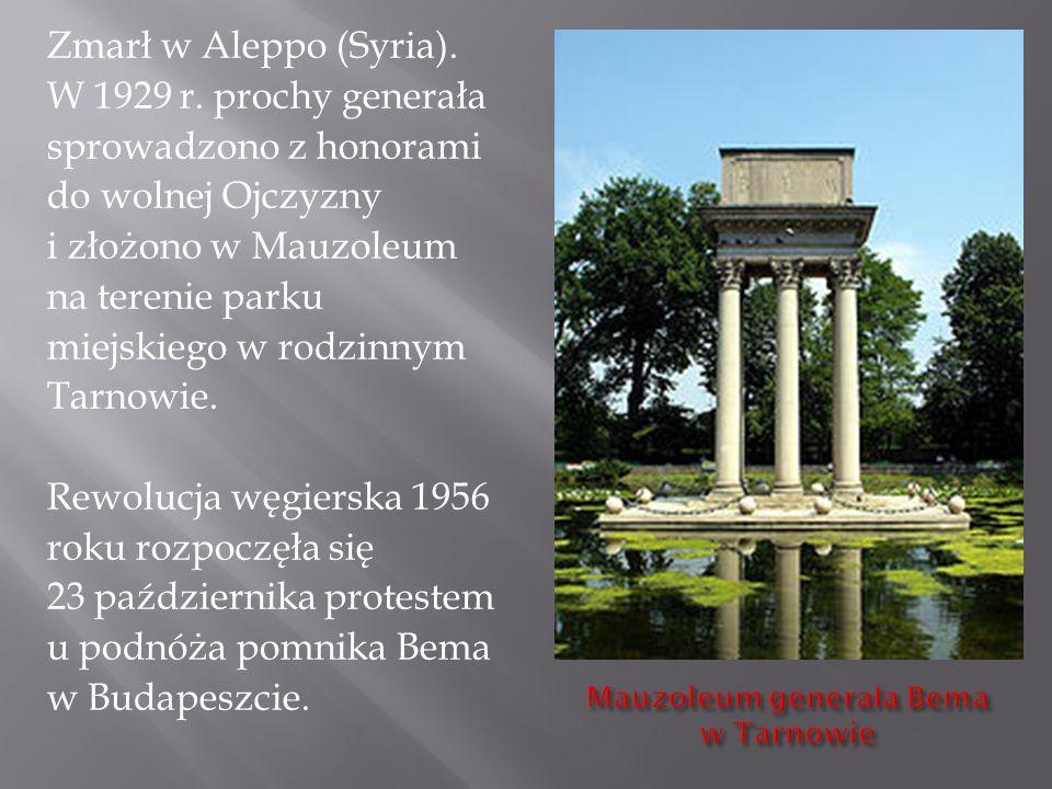 Zmarł w Aleppo (Syria). W 1929 r. prochy generała sprowadzono z honorami do wolnej Ojczyzny i złożono w Mauzoleum na terenie parku miejskiego w rodzin