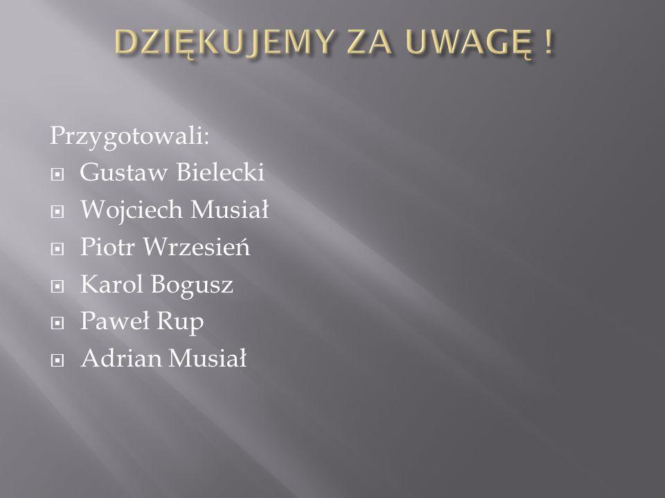 Przygotowali:  Gustaw Bielecki  Wojciech Musiał  Piotr Wrzesień  Karol Bogusz  Paweł Rup  Adrian Musiał