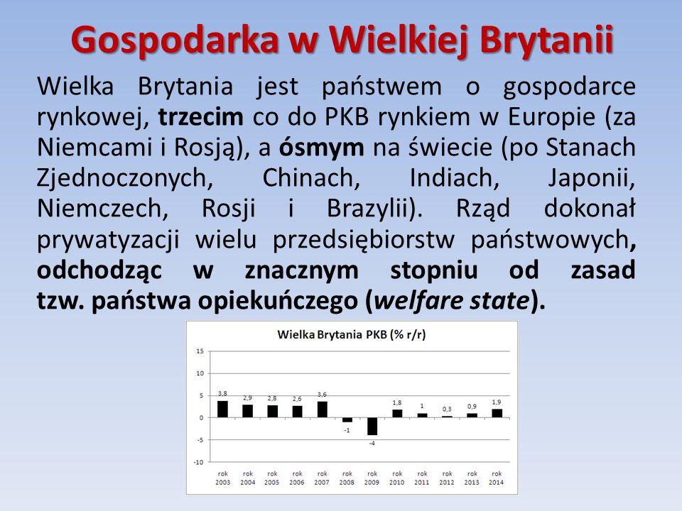 Gospodarka w Wielkiej Brytanii Wielka Brytania jest państwem o gospodarce rynkowej, trzecim co do PKB rynkiem w Europie (za Niemcami i Rosją), a ósmym na świecie (po Stanach Zjednoczonych, Chinach, Indiach, Japonii, Niemczech, Rosji i Brazylii).