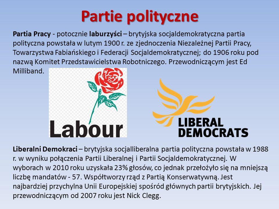 Partie polityczne Partia Pracy - potocznie laburzyści – brytyjska socjaldemokratyczna partia polityczna powstała w lutym 1900 r.