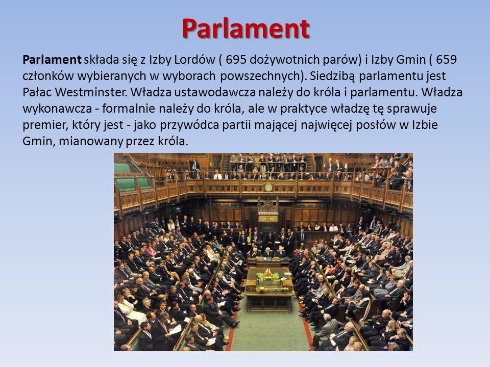 Parlament Parlament składa się z Izby Lordów ( 695 dożywotnich parów) i Izby Gmin ( 659 członków wybieranych w wyborach powszechnych).