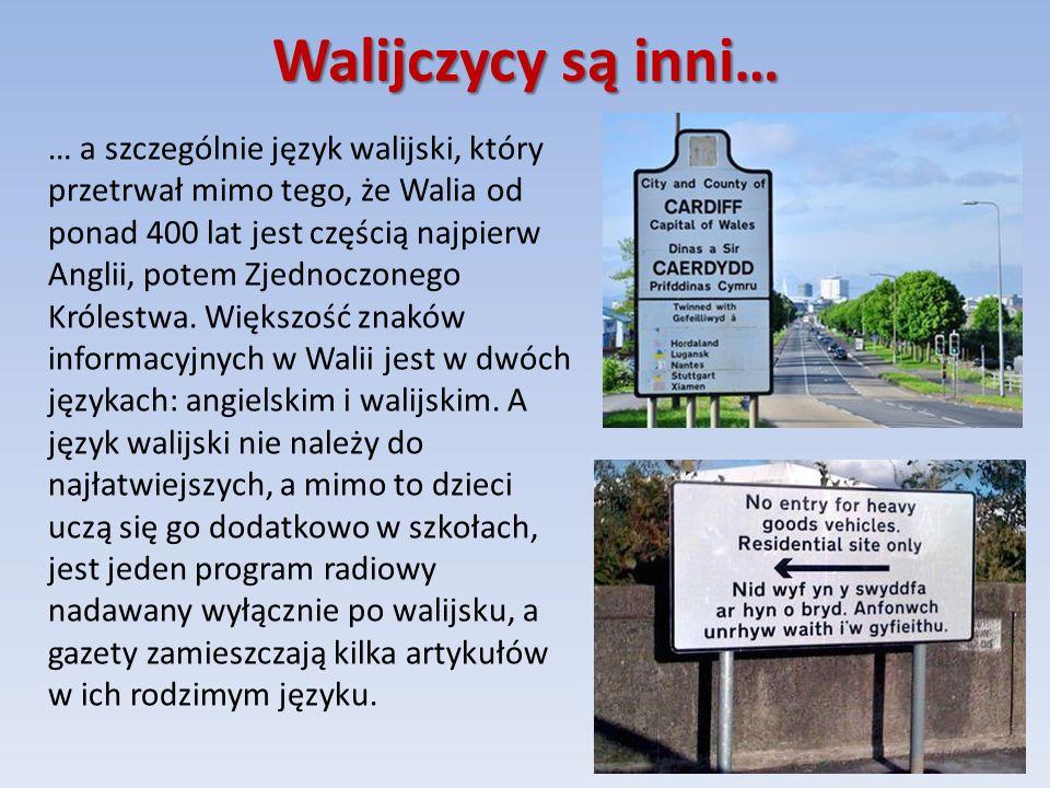 Walijczycy są inni… … a szczególnie język walijski, który przetrwał mimo tego, że Walia od ponad 400 lat jest częścią najpierw Anglii, potem Zjednoczonego Królestwa.