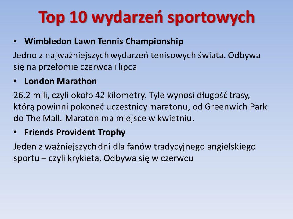 Top 10 wydarzeń sportowych Wimbledon Lawn Tennis Championship Jedno z najważniejszych wydarzeń tenisowych świata.