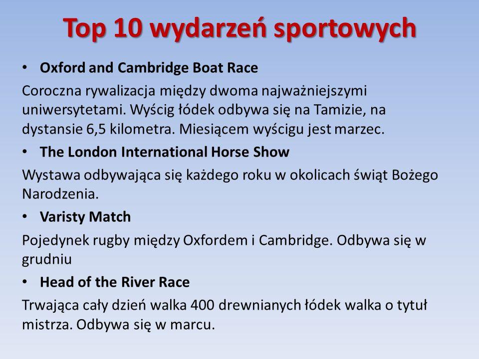 Top 10 wydarzeń sportowych Oxford and Cambridge Boat Race Coroczna rywalizacja między dwoma najważniejszymi uniwersytetami.